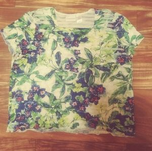 Alfred dunner layered blouse green floral large